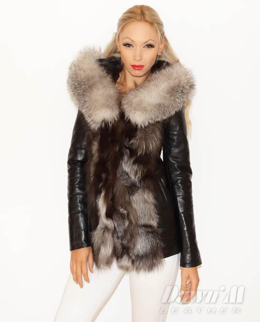 94bbb18dff6 Дамско кожено яке с лисица модел 306 - късо