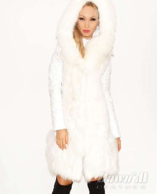 4240b988732 Кожено палто с естествен косъм на северна лисица - 306